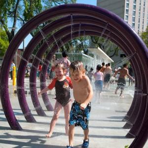 Water splash pad, spray park equipment, outdoor water playground