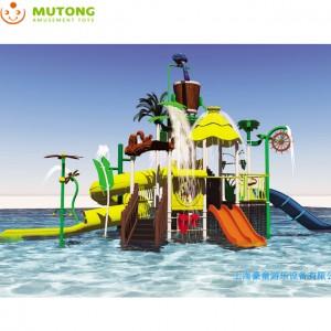 White Water Playground Kids Fiberglass Slide Spray Park Equipment