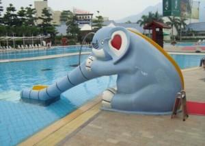Children size rainbow/elephant/frog aqua slide