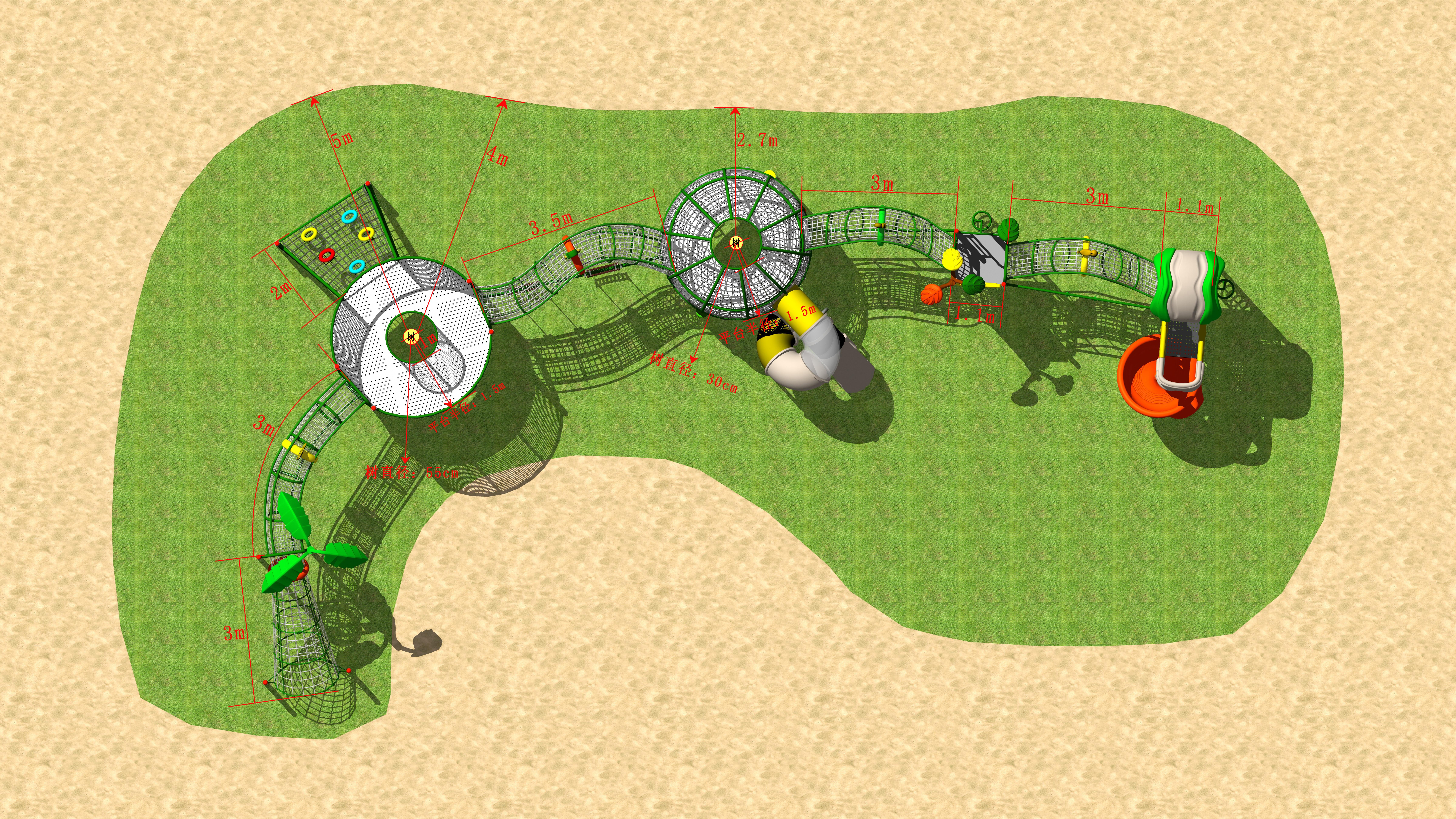 New kindergarten project~ outdoor playground, climbing structure